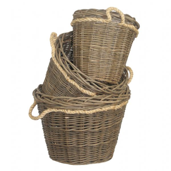 Harvest 3 Large Round Nesting Log Storage Baskets Set - Rope Handles